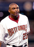 13 June 2006: Marlon Byrd, outfielder for the Washington Nationals, heads back to the dugout during a game against the Colorado Rockies at RFK Stadium, in Washington, DC. The Rockies defeated the Nationals 9-2 in the second game of the four-game series...Mandatory Photo Credit: Ed Wolfstein Photo..
