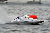 13-14 June, 2009, APBA Inboards, Walled Lake, Novi, MI. USA.Y-126, 1.5 Litre Mod hydroplane.©F. Peirce Williams 2009 USA.F.Peirce Williams.photography.ref: RAW (.NEF) File Available