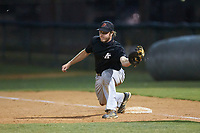 Concord A's first baseman Joe Tolone (31) (Emory & Henry) fields a throw during the game against the Mooresville Spinners at Moor Park on July 31, 2020 in Mooresville, NC. The Spinners defeated the Athletics 6-3 in a game called after 6 innings due to rain. (Brian Westerholt/Four Seam Images)