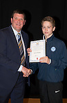 St Johnstone FC Academy Awards Night...06.04.15  Perth Concert Hall<br /> Tommy Wright presents a certificate to Gavin Brown<br /> Picture by Graeme Hart.<br /> Copyright Perthshire Picture Agency<br /> Tel: 01738 623350  Mobile: 07990 594431