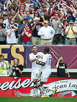 USA's Clint Dempsey celebrates with Jozy Altidore after scoring the game winning goal against Turkey during an international friendly tune up match for the 2010 World Cup, at Lincoln Financial Field, in Philadelphia, PA, Saturday, May 29, 2010. USA defeated Turkey 2-1.