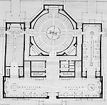 Pittsburgh PA:  View of a drawing created by Ingram & Boyd Architects of the new Buhl Planetarium.  This view is a close-up of the proposed 1st-floor layout of the planetarium. The project was completed in 1939.  The Buhl Planetarium was built with monies from the Buhl Foundation; a foundation created by the wealthy North Side clothier Henry Buhl of Boggs and Buhl department store fame.  Brady Stewart was selected for the job due to his specialized equipment; an 8x10 Dierdorff camera, and his expertise in lighting and photographing large renderings and drawings.