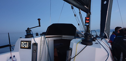 On deck on the Sunfast 3600 Searcher at 10.30pm, some 12.5 hours after the start....