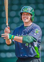 8 July 2015: Vermont Lake Monsters catcher Jordan Devencenzi awaits his turn in the batting cage prior to a game against the Mahoning Valley Scrappers at Centennial Field in Burlington, Vermont. The Lake Monsters defeated the Scrappers 9-4 to open the home game series of NY Penn League action. Mandatory Credit: Ed Wolfstein Photo *** RAW Image File Available ****