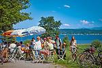 Deutschland, Bayern, Starnberger See, bei Tutzing: Radfahrweg um den See | Germany, Bavaria, Lake Starnberg, near Tutzing: cycle path around the lake