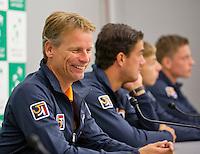 Swiss, Genève, September 14, 2015, Tennis,   Davis Cup, Swiss-Netherlands, Press Conference Dutch team, Captain Jan Siemerink<br /> Photo: Tennisimages/Henk Koster