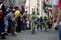 Manuele Boaro (ITA/Tinkoff) on the last ascent of the very steep (20%) cobbled Via Principi d'Acaja<br /> <br /> stage 18: Muggio - Pinerolo (240km)<br /> 99th Giro d'Italia 2016