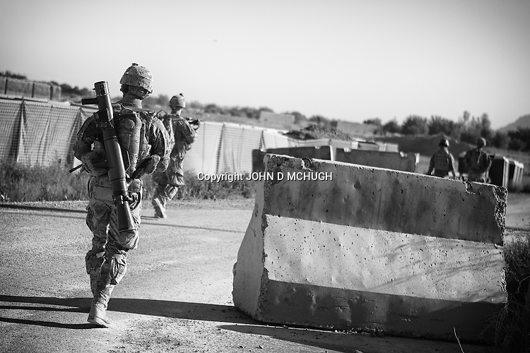 US troops from 1-38 Infantry head out on patrol in Pay-E Moluk village in Panjwayi, Kandahar, 30 April 2013. The patrol was ambushed and turned into a five hour firefight. (John D McHugh)