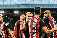 Sheffield United celebrate in front of Sheffield United's Kop during the Sky Bet Championship match between Sheff United and Hull City at Bramall Lane, Sheffield, England on 4 November 2017. Photo by Stephen Buckley / PRiME Media Images.