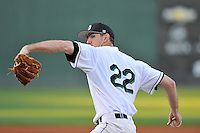 Starting pitcher Tyler Jackson (22) of the USC Upstate Spartans throws warmup pitches in a game against the South Carolina Gamecocks on Tuesday, March 15, 2016, at Fluor Field at the West End in Greenville, South Carolina. (Tom Priddy/Four Seam Images)