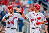 26 September 2018: Washington Nationals pitcher Kyle McGowin comes home to score in the 2nd inning against the Miami Marlins at Nationals Park in Washington, DC. The Nationals defeated the visiting Marlins 9-3, closing out Washington's 2018 home season. Mandatory Credit: Ed Wolfstein Photo *** RAW (NEF) Image File Available ***