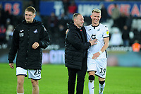 Steve Cooper Head Coach of Swansea City celebrates at full time with Sam Surridge of Swansea City during the Sky Bet Championship match between Swansea City and Middlesbrough at the Liberty Stadium in Swansea, Wales, UK. Saturday 14 December 2019