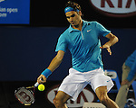 January 29, 2010.Roger Federer, of Switzerland, in action, defeatingg Jo-Wilfried Tsonga, of France,  6-2, 6-3, 6-2 in the semi-final of the Australian Open, Melbourne Park, Melbourne, Australia