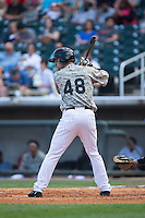 Jeremy Farrell (48) of the Birmingham Barons at bat against the Tennessee Smokies at Regions Field on May 3, 2015 in Birmingham, Alabama.  The Smokies defeated the Barons 3-0.  (Brian Westerholt/Four Seam Images)