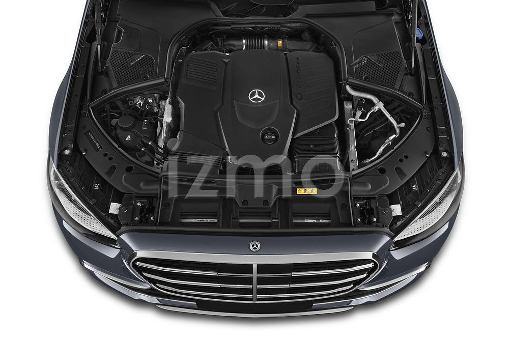 Car Stock 2021 Mercedes Benz S-Class - 4 Door Sedan Engine  high angle detail view