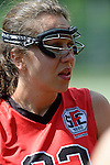 GER - Hannover, Germany, May 30: During the Women Lacrosse Playoffs 2015 match between DHC Hannover (black) and SC Frankfurt 1880 (red) on May 30, 2015 at Deutscher Hockey-Club Hannover e.V. in Hannover, Germany. Final score 23:3. (Photo by Dirk Markgraf / www.265-images.com) *** Local caption *** Elena Leyendecker #33 of SC 1880 Frankfurt