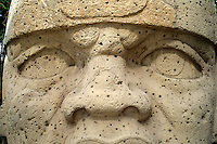 Detail of a large stone head from the Olmec civilization. the face is carved with the eyes crossed, considered by the Olmec to be a sign of beauty. Museo de Antropolgia (Museum of Anthropology)Veracruz, Xalapa (Jalapa), Mexico.