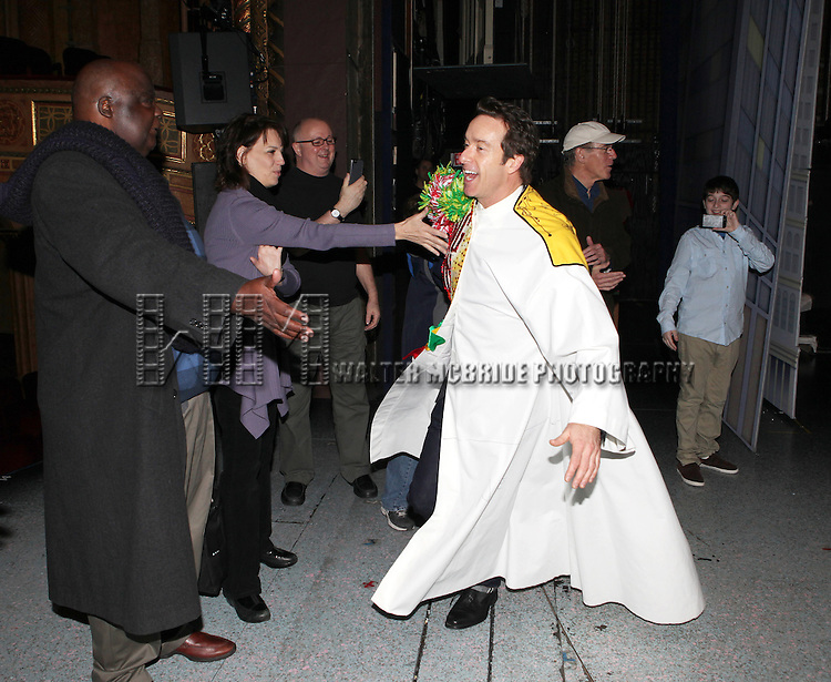 Timothy J. Alex with Michael Mandell, Beth Leavel, Mitchell Sink, Mark Jacoby, Jason Eric Testa  attending the Broadway Opening Night Gypsy Robe Ceremony celebrating Timothy J. Alex in 'Elf The Musical' at the Al Hirschfeld Theatre in New York City on 11/18/2012