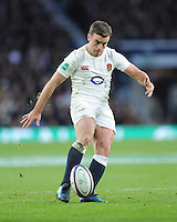 George Ford of England attempts a drop goal during the Old Mutual Wealth Series match between England and Australia at Twickenham Stadium on Saturday 3rd December 2016 (Photo by Rob Munro)
