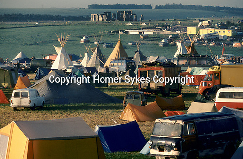 1970's style hippies attend the second free festival at Stonehenge to celebrate the summer solstice June 21st 1979