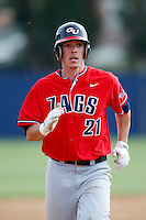 Cory Lebrun #21 of the Gonzaga Bulldogs runs the bases during a game against the Loyola Marymount Lions at Page Stadium on March 28, 2013 in Los Angeles, California. (Larry Goren/Four Seam Images)