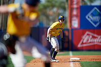 Michigan Wolverines third baseman Jimmy Kerr (15) leads off third base during a game against Army West Point on February 17, 2018 at Tradition Field in St. Lucie, Florida.  Army defeated Michigan 4-3.  (Mike Janes/Four Seam Images)