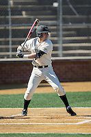 Johnny Aiello (2) of the Wake Forest Demon Deacons at bat against the Richmond Spiders at David F. Couch Ballpark on March 6, 2016 in Winston-Salem, North Carolina.  The Demon Deacons defeated the Spiders 17-4.  (Brian Westerholt/Four Seam Images)