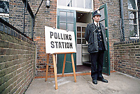Policeman standing outside an General Election Polling Station. This image may only be used to portray the subject in a positive manner..©shoutpictures.com..john@shoutpictures.com