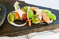 'The Forest': quinoa risotto and wild mushrooms ['La Forêt': risotto de quinoa et champignons sauvages], signature dish of chef Mauro Colagreco, servedat restaurant Mirazur, Menton, France, 18 September 2013