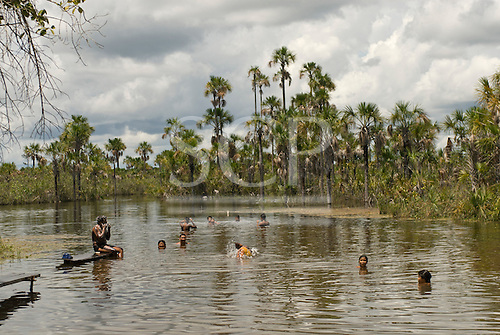 Ngolwere Village, Mato Grosso State, Brazil. Kisedje. Soon it will be safe to bathe only in lakes like this, separated from the pollution of the river.