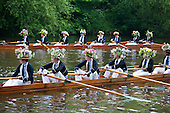 Eton College schoolboys rehearse the annual Procession of Boats ceremony on the River Thames.