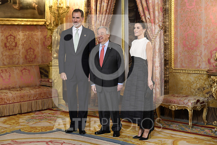 King Felipe VI of Spain (L) and Queen Letizia of Spain (R) receive United Nations Secretary-General Antonio Guterres (C) because of the United Nations conference for the Climate Summit 2019 (COP25) at the Royal Palace. December 2,2019. (ALTERPHOTOS/Pool/Carlos Alvarez)