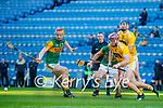 Michael O'Leary, Kerry in action against Eoghan Campbell, Antrim during the Joe McDonagh Cup Final match between Kerry and Antrim at Croke Park in Dublin.