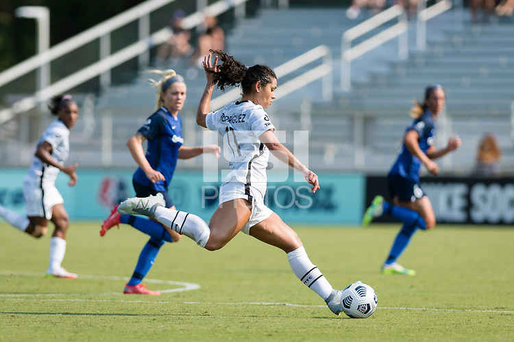 CARY, NC - SEPTEMBER 12: Rocky Rodriguez #11 of the Portland Thorns passes the ball during a game between Portland Thorns FC and North Carolina Courage at WakeMed Soccer Park on September 12, 2021 in Cary, North Carolina.