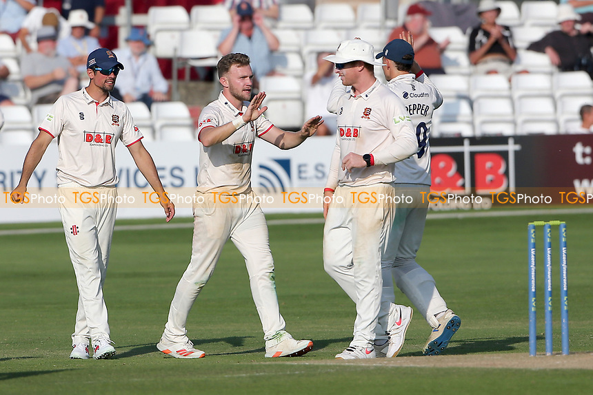 Sam Cook of Essex celebrates with his team mates after taking the wicket of James Bracey during Essex CCC vs Gloucestershire CCC, LV Insurance County Championship Division 2 Cricket at The Cloudfm County Ground on 6th September 2021