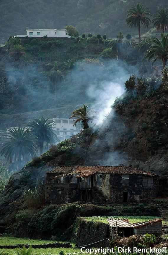 Spanien, Kanarische Inseln, Gomera, Terrassenfelder bei Vallehermoso