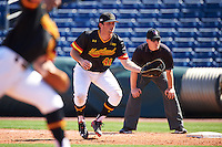 Maryland Terrapins first baseman Kevin Biondic (41) gets into position in front of umpire Sean Barber during a game against the Alabama State Hornets on February 19, 2017 at Spectrum Field in Clearwater, Florida.  Maryland defeated Alabama State 9-7.  (Mike Janes/Four Seam Images)
