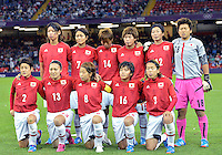 July 31, 2012..Group photgraph of Japan's women's Football Team before Group F match between JPN and RSA at the Millennium Stadium on day four of 2012 Olympic Games in Cardiff, United Kingdom...