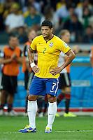 Hulk of Brazil looks dejected