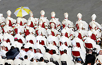 Prelates and priests attend a canonization ceremony celebrated by the Pope in St. Peter's Square at the Vatican, October 15, 2017. The pontiff canonized Italian Capuchin priest  Angelo of Acri, Spanish priest Faustino Miguez, the Child Martyrs of Tlaxcala, (Mexico) Cristobal, Antonio and Juan, and the Martyrs of Natal, Jesuit priest Andre de Soveral, diocesan priest Ambrosio Francisco Ferro, layman Mateus Moreira and 27 others, killed in 1645 in an anti-Catholic persecution carried out by Dutch Calvinists in Natal, Brazil. <br /> UPDATE IMAGES PRESS/Riccardo De Luca<br /> <br /> STRICTLY ONLY FOR EDITORIAL USE