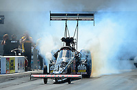 Apr. 15, 2012; Concord, NC, USA: NHRA top fuel dragster driver Doug Kalitta during eliminations for the Four Wide Nationals at zMax Dragway. Mandatory Credit: Mark J. Rebilas-