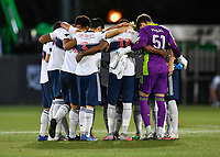 LAKE BUENA VISTA, FL - JULY 26: Vancouver Whitecaps FC huddle during a game between Vancouver Whitecaps and Sporting Kansas City at ESPN Wide World of Sports on July 26, 2020 in Lake Buena Vista, Florida.