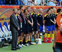 Fifa Women's World Cup Germany 2011 : Zweden - France Frankrijk at Sinsheim World Cup stadium : Thomas Dennerby tijdens het zweedse volkslied.foto DAVID CATRY / Vrouwenteam.be