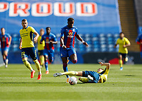 5th September 2020; Selhurst Park, London, England; Pre Season Friendly Football, Crystal Palace versus Brondby; Wilfried Zaha of Crystal Palace is tackled by Sigurd Rosted of Brondby