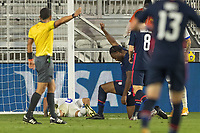 FORT LAUDERDALE, FL - DECEMBER 09: Ayo Akinola #9 of the United States celebrates his goal during a game between El Salvador and USMNT at Inter Miami CF Stadium on December 09, 2020 in Fort Lauderdale, Florida.