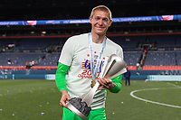DENVER, CO - JUNE 6: Ethan Horvath #12 of the United States holding the Nations League hardware during a game between Mexico and USMNT at Mile High on June 6, 2021 in Denver, Colorado.