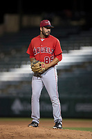 AZL Angels relief pitcher Matt Leon (85) prepares to deliver a pitch during an Arizona League game against the AZL Athletics at Tempe Diablo Stadium on June 26, 2018 in Tempe, Arizona. The AZL Athletics defeated the AZL Angels 7-1. (Zachary Lucy/Four Seam Images)