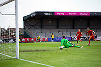 3rd September 2021; Newport, Wales:  Luke Harris of Wales shoots and scores during the U18 International Friendly  match against England at Newport Stadium in Newport, Wales.