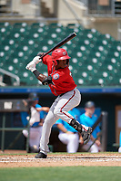 Washington Nationals Junior Martina (4) at bat during an Instructional League game against the Miami Marlins on September 25, 2019 at Roger Dean Chevrolet Stadium in Jupiter, Florida.  (Mike Janes/Four Seam Images)