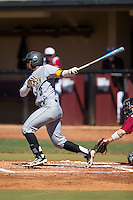 Justin Motley (6) of the Kennesaw State Owls follows through on his swing against the Winthrop Eagles at the Winthrop Ballpark on March 15, 2015 in Rock Hill, South Carolina.  The Eagles defeated the Owls 11-4.  (Brian Westerholt/Four Seam Images)